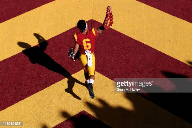 Michael Pittman Jr #6 of the USC Trojans runs onto the field prior to a game against the UCLA Bruins at Los Angeles Memorial Coliseum on November 23...