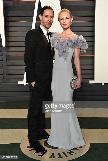 Michael Polish and actress Kate Bosworth arrives at the 2016 Vanity Fair Oscar Party Hosted By Graydon Carter at Wallis Annenberg Center for the...