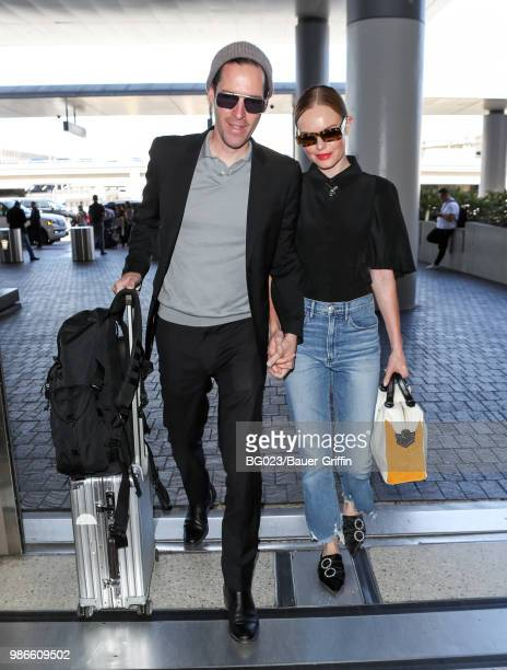 Michael Polish and Kate Bosworth are seen at LAX on June 28, 2018 in Los Angeles, California.