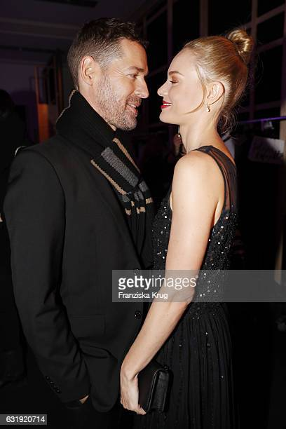 Michael Polish and Kate Bosworth attend the Marc Cain fashion show A/W 2017 at Deutsche Telekom representation on January 17 2017 in Berlin Germany