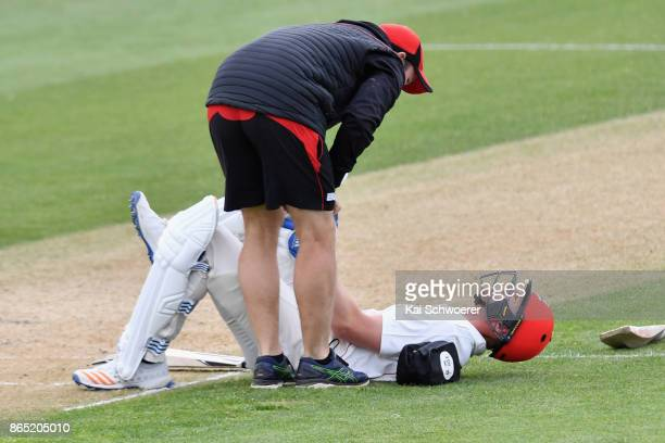 Michael Pollard of Canterbury receives medical help during the Plunket Shield match between Canterbury and the Otago Volts on October 23 2017 in...