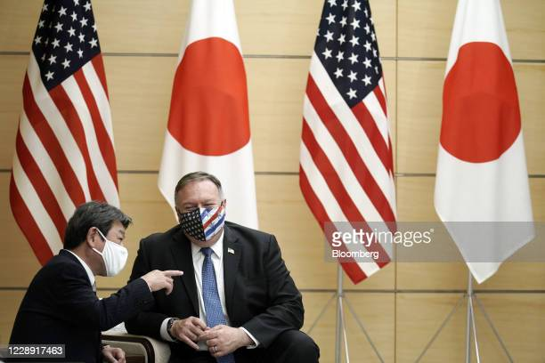 Michael Pompeo, U.S. Secretary of State, right, speaks with Toshimitsu Motegi, Japan's foreign minister, prior to a meeting with Japan's Prime...