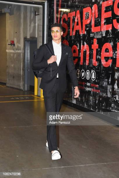 Michael Porter Jr #1 of the Denver Nuggets arrives to the arena before a game against the LA Clippers on October 17 2018 at Staples Center in Los...