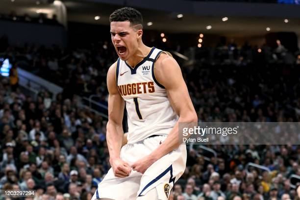 Michael Porter Jr. #1 of the Denver Nuggets celebrates in the third quarter against the Milwaukee Bucks at the Fiserv Forum on January 31, 2020 in...