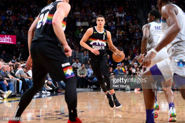 Michael Porter Jr #1 of the Denver Nuggets handles the ball during a game against the Charlotte Hornets on January 15 2020 at the Pepsi Center in...