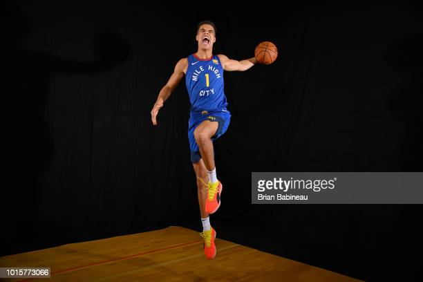 Michael Porter Jr #1 of the Denver Nuggets poses for a portrait during the 2018 NBA Rookie Photo Shoot on August 12 2018 at the Madison Square Garden...