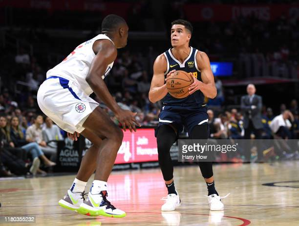 Michael Porter Jr #1 of the Denver Nuggets prepares to shoot on Mfiondu Kabengele of the LA Clippers during a 11191 Nuggets preseason win at Staples...