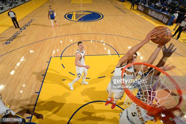 Michael Porter Jr. #1 of the Denver Nuggets rebounds the ball during the game against the Golden State Warriors on April 12, 2021 at Chase Center in...