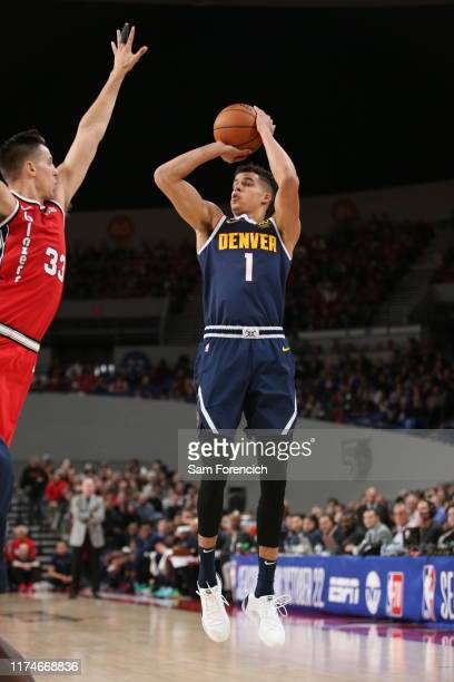 Michael Porter Jr #1 of the Denver Nuggets shoots the ball against the Portland Trail Blazers during a preseason game on October 8 2019 at the...