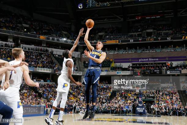 Michael Porter Jr #1 of the Denver Nuggets shoots the ball against the Indiana Pacers on January 2 2020 at Bankers Life Fieldhouse in Indianapolis...
