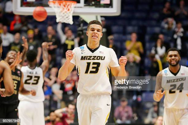 Michael Porter Jr #13 of the Missouri Tigers reacts against the Florida State Seminoles during the game in the first round of the 2018 NCAA Men's...
