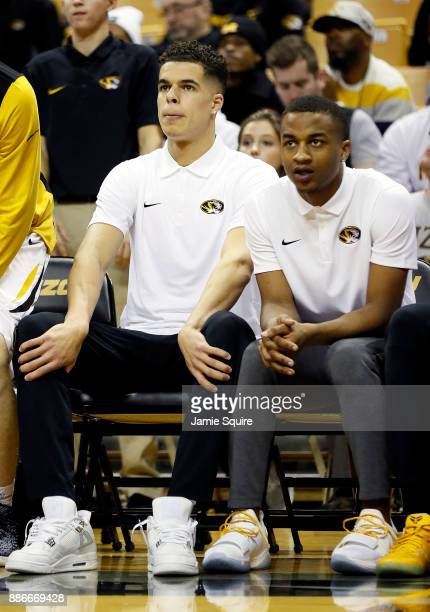 Michael Porter Jr #13 of the Missouri Tigers watches from the bench during the game against the Miami Redhawks at Mizzou Arena on December 5 2017 in...