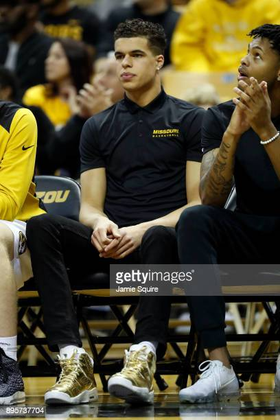 Michael Porter Jr #13 of the Missouri Tigers watches from the bench during the game against the Stephen F Austin Lumberjacks at Mizzou Arena on...