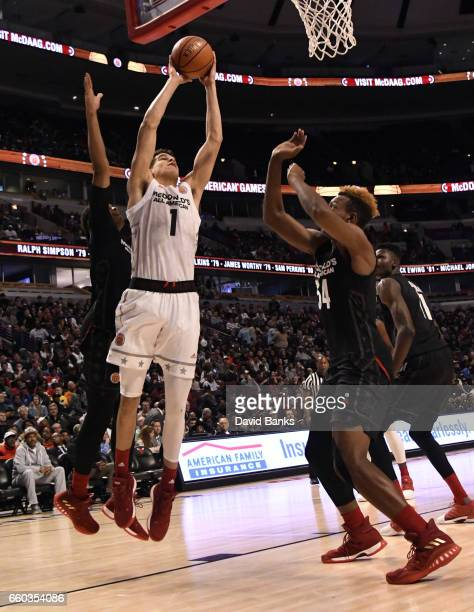 Michael Porter Jr #1of the boys west team goes to the basket against boys east team during the 2017 McDonalds's All American Game on March 29 2017 at...