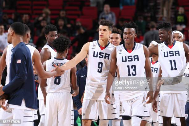 Michael Porter Jr #7 of the USA Junior Select Team greets against the World Select Team during the game on April 7 2017 at the MODA Center Arena in...