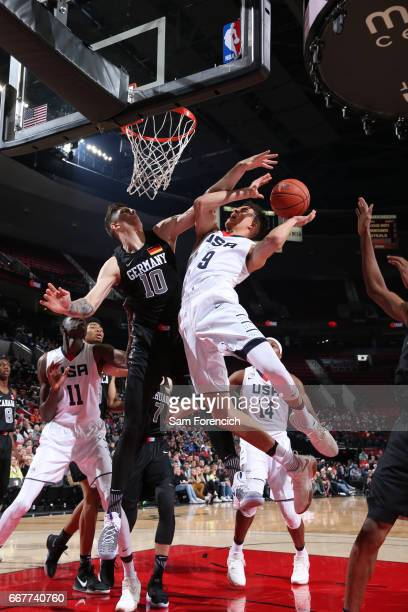 Michael Porter Jr #9 of the USA Junior Select Team shoots against Isaiah Hartenstein of the World Select Team during the game on April 7 2017 at the...