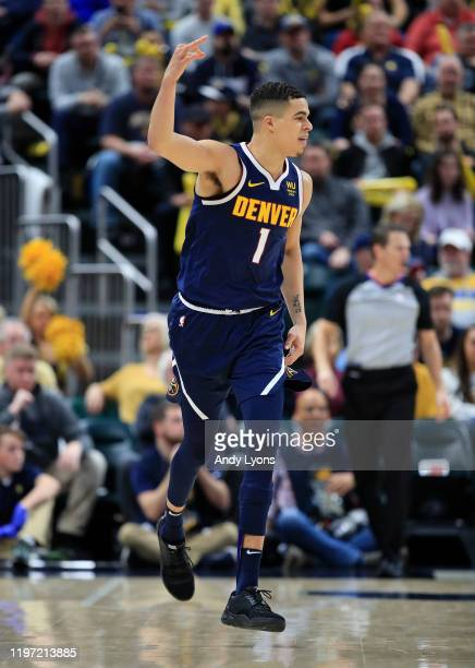 Michael Porter Jr of the Denver Nuggets celebrates after making a three point shot during the game against the Indiana Pacers at Bankers Life...