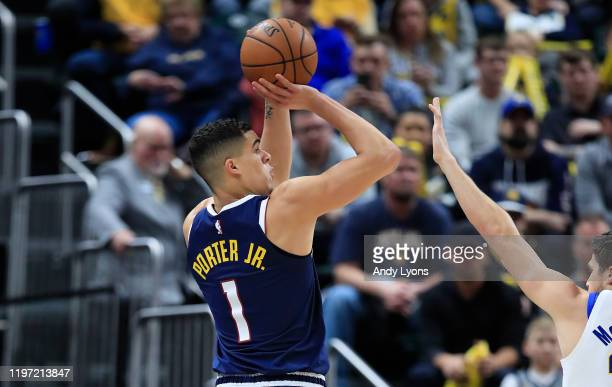 Michael Porter Jr of the Denver Nuggets shoots the ball during the game against the Indiana Pacers at Bankers Life Fieldhouse on January 02 2020 in...