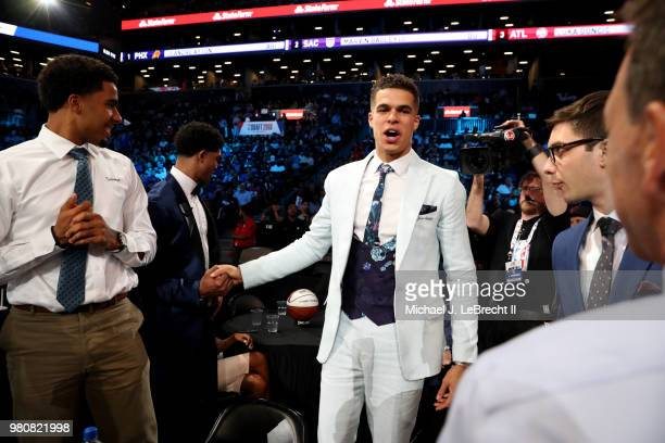 Michael Porter Jr reacts after being selected fourteenth overall by the Denver Nuggets on June 21 2018 at Barclays Center during the 2018 NBA Draft...