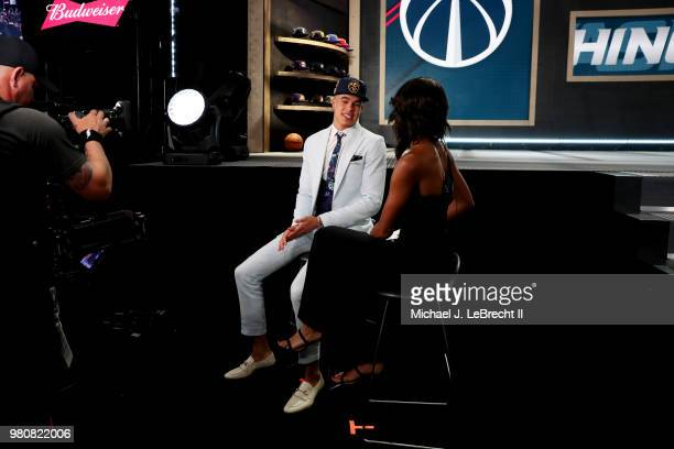 Michael Porter Jr talks to the media after being selected fourteenth overall by the Denver Nuggets on June 21 2018 at Barclays Center during the 2018...