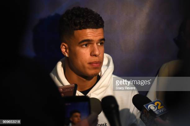 Michael Porter speaks with reporters during Day One of the NBA Draft Combine at Quest MultiSport Complex on May 17 2018 in Chicago Illinois NOTE TO...