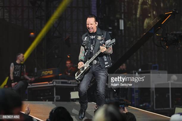 Michael Poulsen of Voltbeat opens for Metallica at US Bank Stadium on August 20 2016 in Minneapolis Minnesota