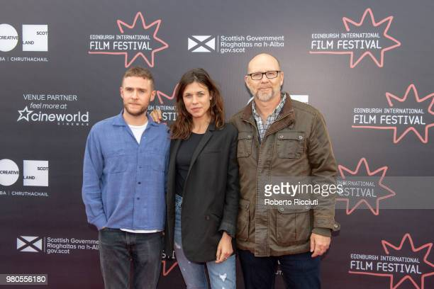 Michael Powell Jurors Iain De Caestecker Ana Ularu and Jason Connery attend a photocall during the 72nd Edinburgh International Film Festival at...