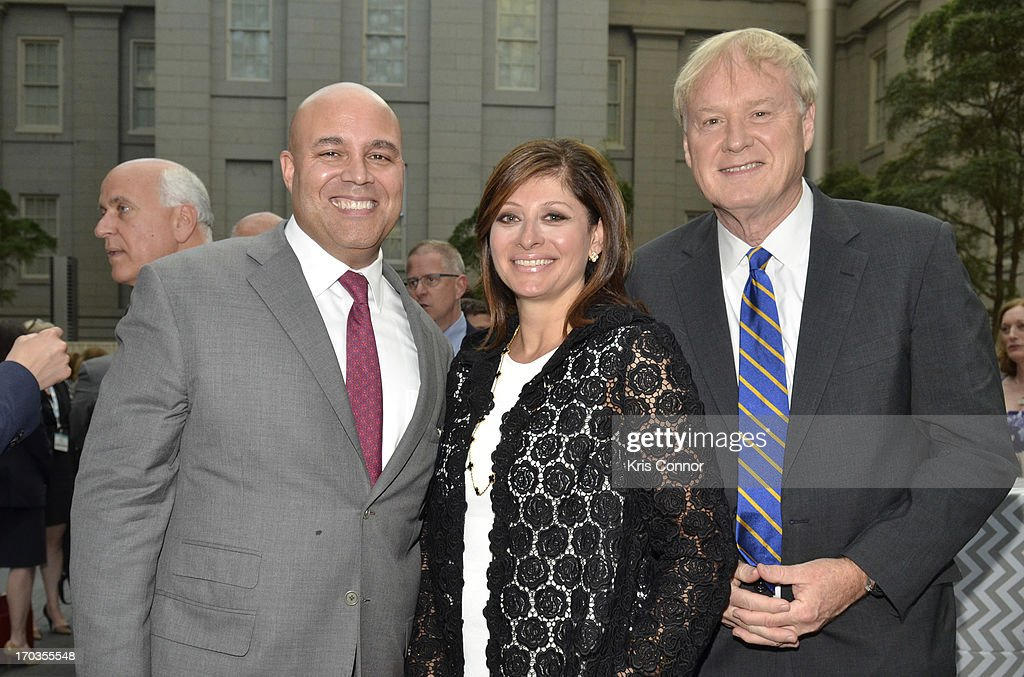 Michael Powell, Maria Bartiromo and Chris Matthews pose for a photo during a NCTA reception hosted by A+E Networks at Smithsonian American Art Museum & National Portrait Gallery on June 11, 2013 in Washington, DC.