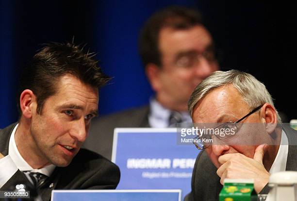 Michael Preetz manager of the soccer club Hertha BSC Berlin and president Werner Gegenbauer are seen during the general meeting at the ICC on...