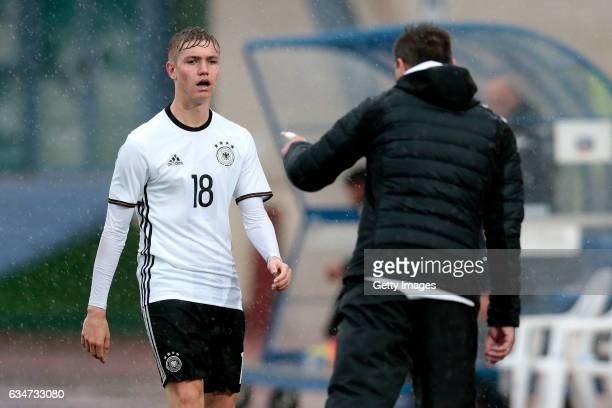 Michael Prus chats with Julian Albrecht of Germany during the UEFA Development Tournament Match between Germany U16 and France U16 on February 11...