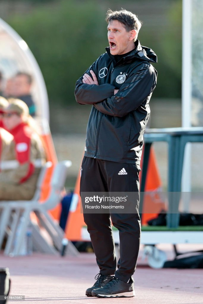 Michael Prus, Head Coach of Germany U17 gestures during U17-Juniors Algarve Cup match between U17 Portugal and U17 Germany at Bela Vista Stadium on February 13, 2018 in Parchal, Portugal.