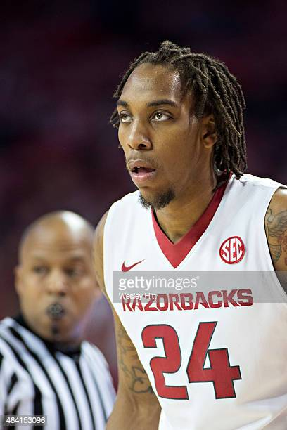 Michael Qualls of the Arkansas Razorbacks looks over the offense during a game against the Missouri Tigers at Bud Walton Arena on February 18 2015 in...