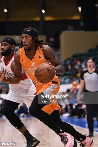 Michael Qualls of the Texas Legends handles the ball against the Agua Caliente Clippers on March 18 2018 at the Dr Pepper Arena in Frisco Texas NOTE...