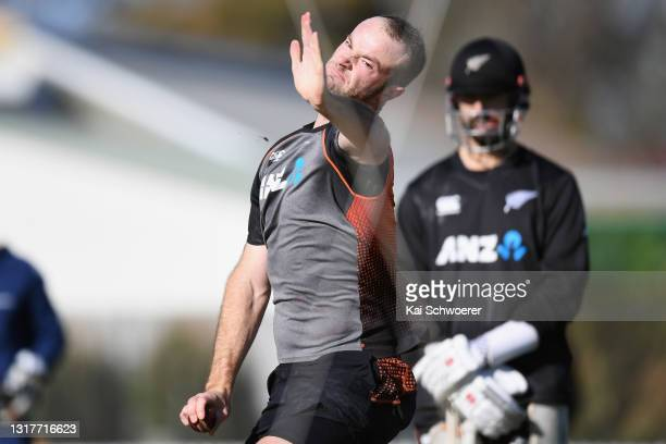 Michael Rae bowls during a New Zealand Blackcaps training session at the New Zealand Cricket High Performance Centre on May 13, 2021 in Lincoln, New...