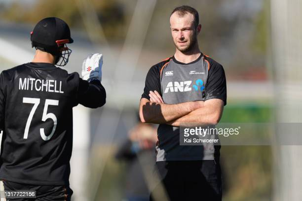 Michael Rae looks on during a New Zealand Blackcaps training session at the New Zealand Cricket High Performance Centre on May 13, 2021 in Lincoln,...