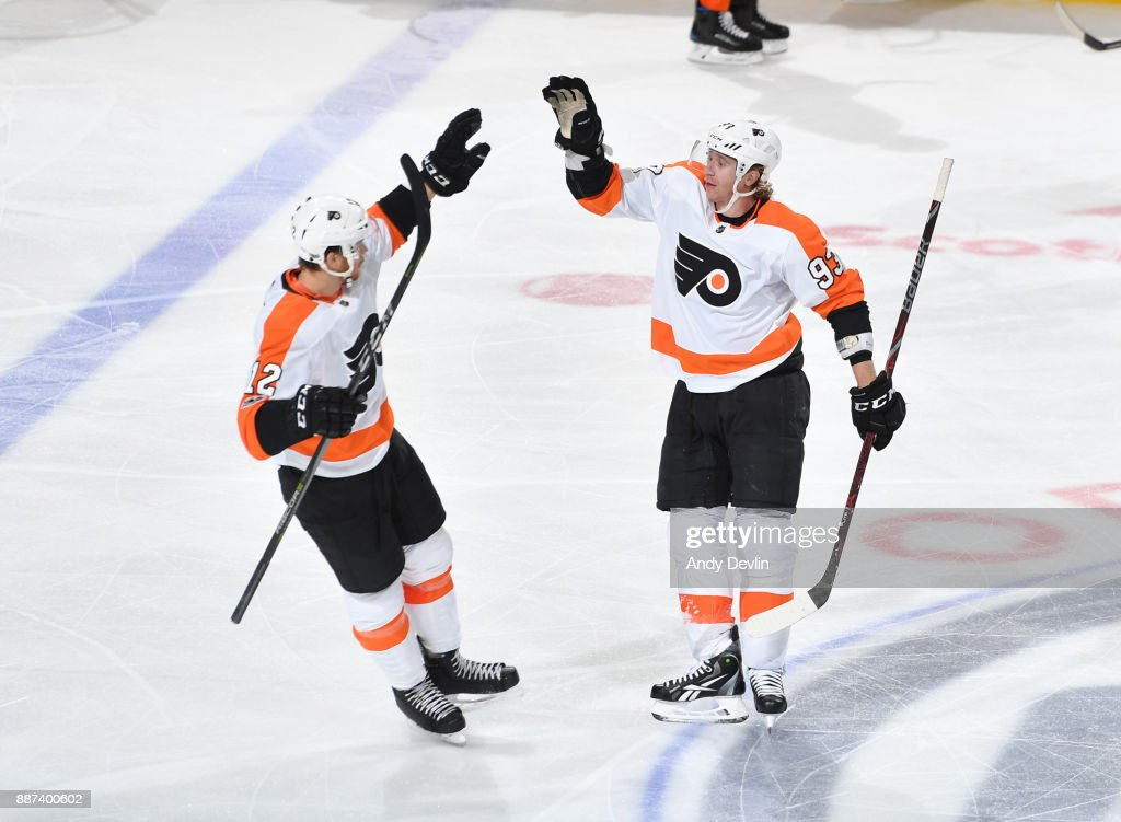 Michael Raffl #12 and Jakub Voracek #93 of the Philadelphia Flyers celebrate after a goal during the game against the Edmonton Oilers on December 6, 2017 at Rogers Place in Edmonton, Alberta, Canada.