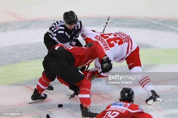 Michael Raffl of Austria and Julian Jakobsen of Denmark during the Austria v Denmark - Ice Hockey International Friendly at Erste Bank Arena on May...