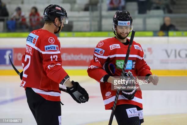 Michael Raffl of Austria and Raphael Herburger of Austria during the Austria v Denmark - Ice Hockey International Friendly at Erste Bank Arena on May...