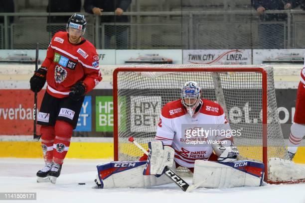 Michael Raffl of Austria and Sebastian Dahm of Denmark during the Austria v Denmark - Ice Hockey International Friendly at Erste Bank Arena on May 5,...