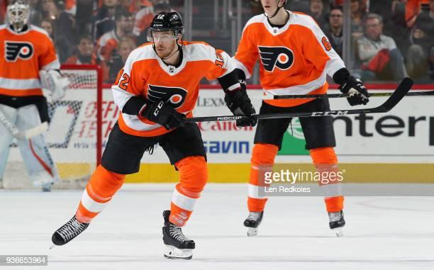 Michael Raffl of the Philadelphia Flyers skates against the Columbus Blue Jackets on March 15 2018 at the Wells Fargo Center in Philadelphia...