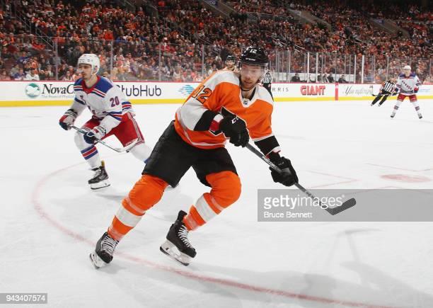 Michael Raffl of the Philadelphia Flyers skates against the New York Rangers at the Wells Fargo Center on April 7 2018 in Philadelphia Pennsylvania...