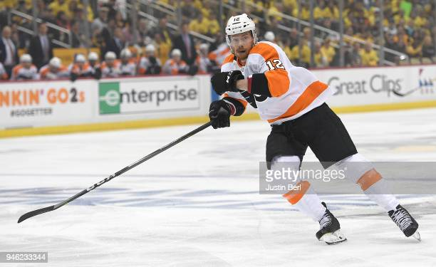 Michael Raffl of the Philadelphia Flyers skates during the first period in Game One of the Eastern Conference First Round during the 2018 NHL Stanley...