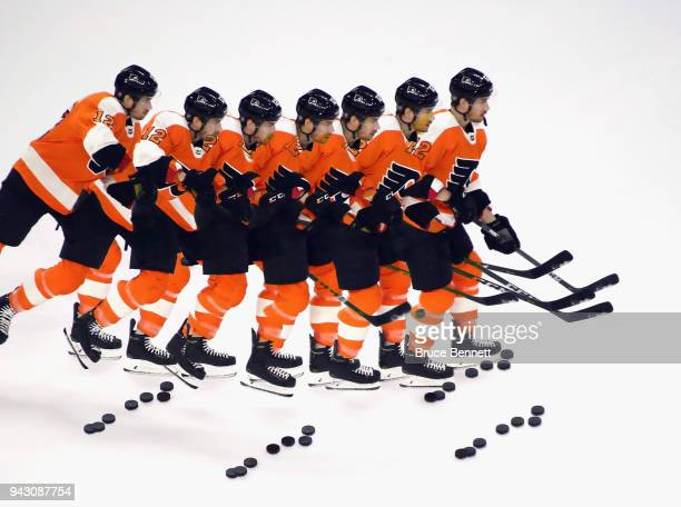 Michael Raffl of the Philadelphia Flyers skates in warmups prior to the game against the Philadelphia Flyers at the Wells Fargo Center on April 7...