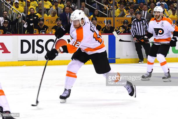 Michael Raffl of the Philadelphia Flyers takes a shot on goal against the Pittsburgh Penguins in Game Two of the Eastern Conference First Round...