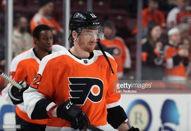 Michael Raffl of the Philadelphia Flyers warms up prior to his game against the Columbus Blue Jackets on March 15 2018 at the Wells Fargo Center in...