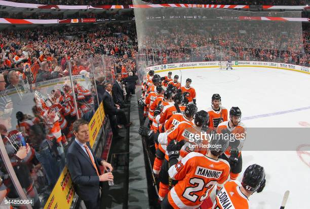 Michael Raffl Sean Couturier Ivan Provorov Claude Giroux and Shayne Gostisbehere of the Philadelphia Flyers celebrate a second period goal with...