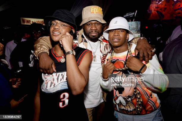 Michael Rainey Jr., 50 Cent and Mekai Curtis attend 'Power Book III: Raising Kanan' global premiere event and screening at Hammerstein Ballroom on...