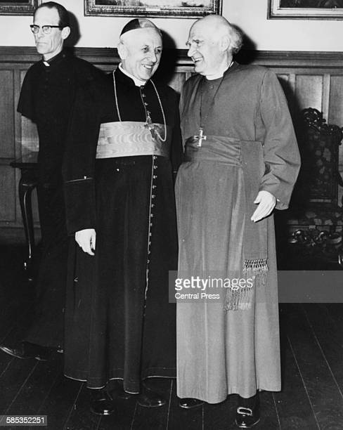 Michael Ramsey the Archbishop of Canterbury talking to Cardinal Francois Marty the Archbishop of Paris during an ecumenical visit to Britain by the...