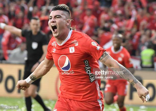 Michael Rangel of America celebrates after scoring the first goal of his team during the second leg final match of the Torneo Clausura Liga Aguila...