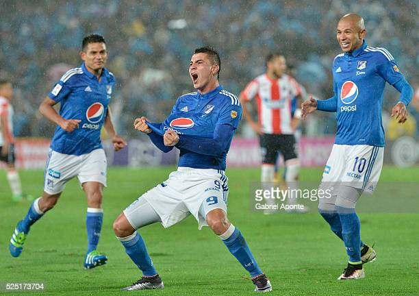 Michael Rangel of Millonarios celebrates after scoring during a match between Millonarios and Junior as part of round 15 of Liga Aguila I 2016 at...